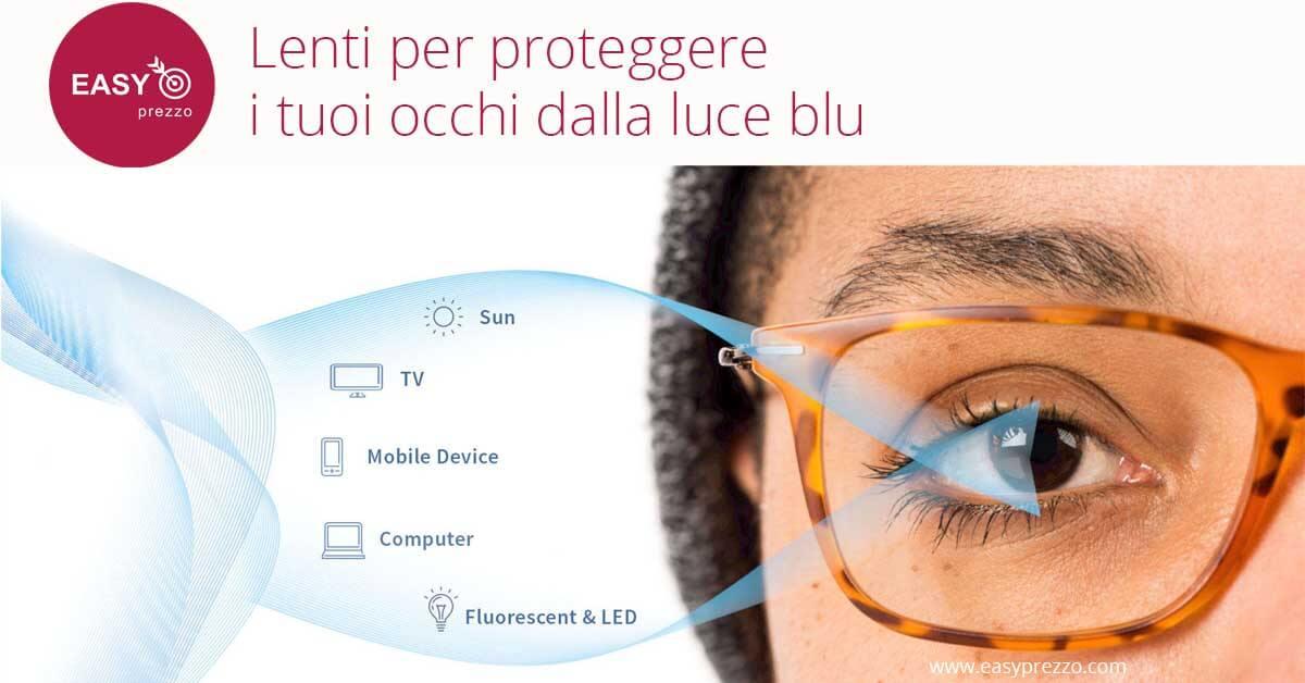 l'immagine rappresenta un viso di una donna che ha gli occhiali che proteggono dalla luce blu